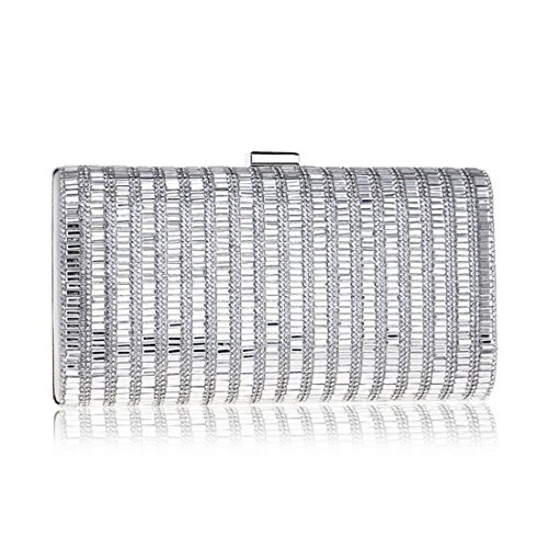 Silver Silver Evening Bag Banquet Dress Diamond Women's Purse Color Clutch Dress Bag KERVINFENDRIYUN 7zOqPxtwz