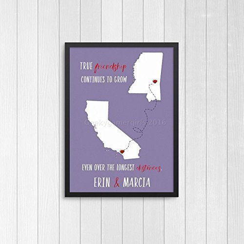 Moving gifts amazon best friend print going away best friend gift best friend long distance present bff state art true friendship continues to grow negle Images