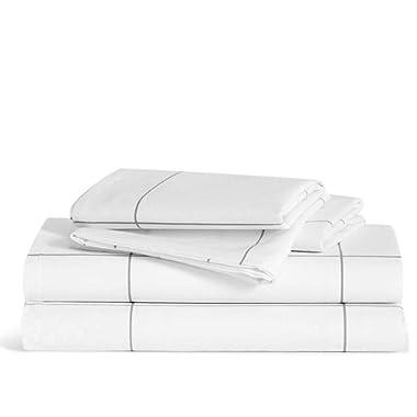 Brooklinen Luxe Core Sheet Set – Includes 1 Flat Sheet, 1 Fitted Sheet + 2 Pillowcases – 480 Thread Count Sateen Sheet Set – 100 Percent Long-Staple Cotton – Oeko-TEX Certified – Windowpane – King