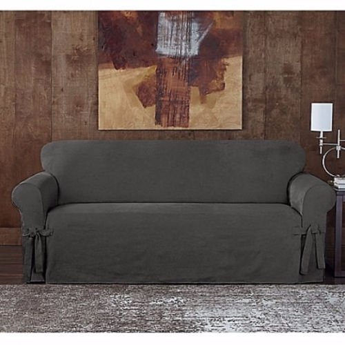 Sure Fit Suede Twill Loveseat Slipcover in Gray by Surefit