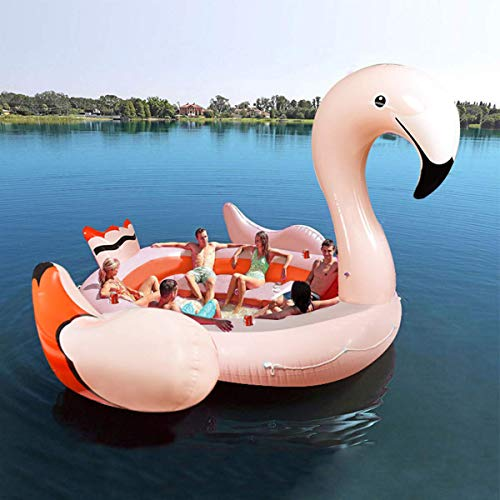 Goplus Island Giant Flamingo Float, Swimming Pool Raft Lounge for Adults &  Kids, Inflatable Toy for Summer Pool Party, Beach Toys Large Pool Floats