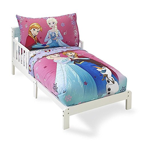 Crown Crafts 4 Piece Disney Frozen Toddler Bedding Set, Sisters Forever