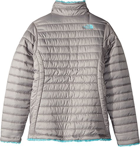 The North Face Kids Girl's Reversible Mossbud Swirl Jacket (Little Kids/Big Kids) Metallic Silver/Blue Curacao Small by The North Face (Image #1)