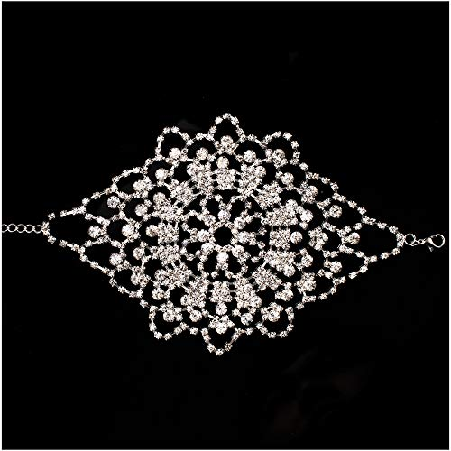 LONGBLE Bridal Crystal Rhinestone Armlet Bracelet Shiny Armband Arm Harness Silver Palm Chain Women Girls Wedding Party Accessories …