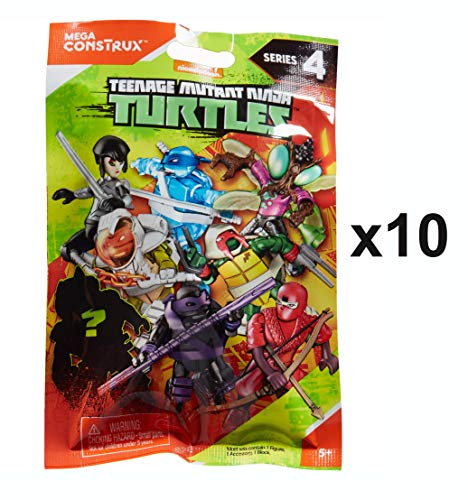 (Teenage Mutant Ninja Turtles Mega Construx Series Mini Figure Blind Bag Party Favours - Pack of 10)