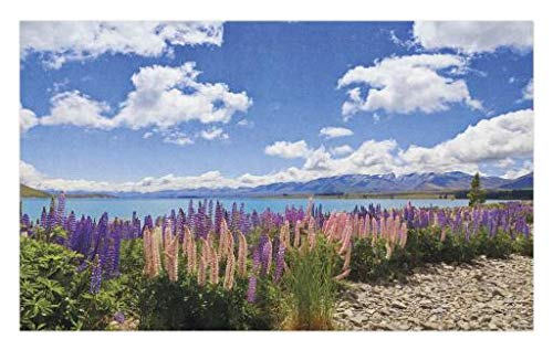 Lunarable Sky Doormat, Floral Design Lupin Wildflowers on The Shore of Lake and Cloudy Sky Digital Print, Decorative Polyester Floor Mat with Non-Skid Backing, 30 W X 18 L inches, Sky Blue Purple