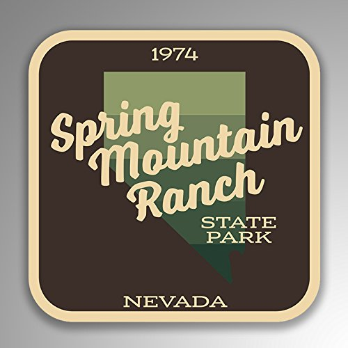 JMM Industries Spring Mountain Ranch State Park Nevada Vinyl Decal Sticker Retro Vintage Look 2-Pack 4-inches by 4-inches Premium Quality UV Protective Laminate -
