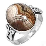 Natural Crazy Lace Agate Gemstone Ring Solid 925 Sterling Silver Handmade Jewelry Size 7