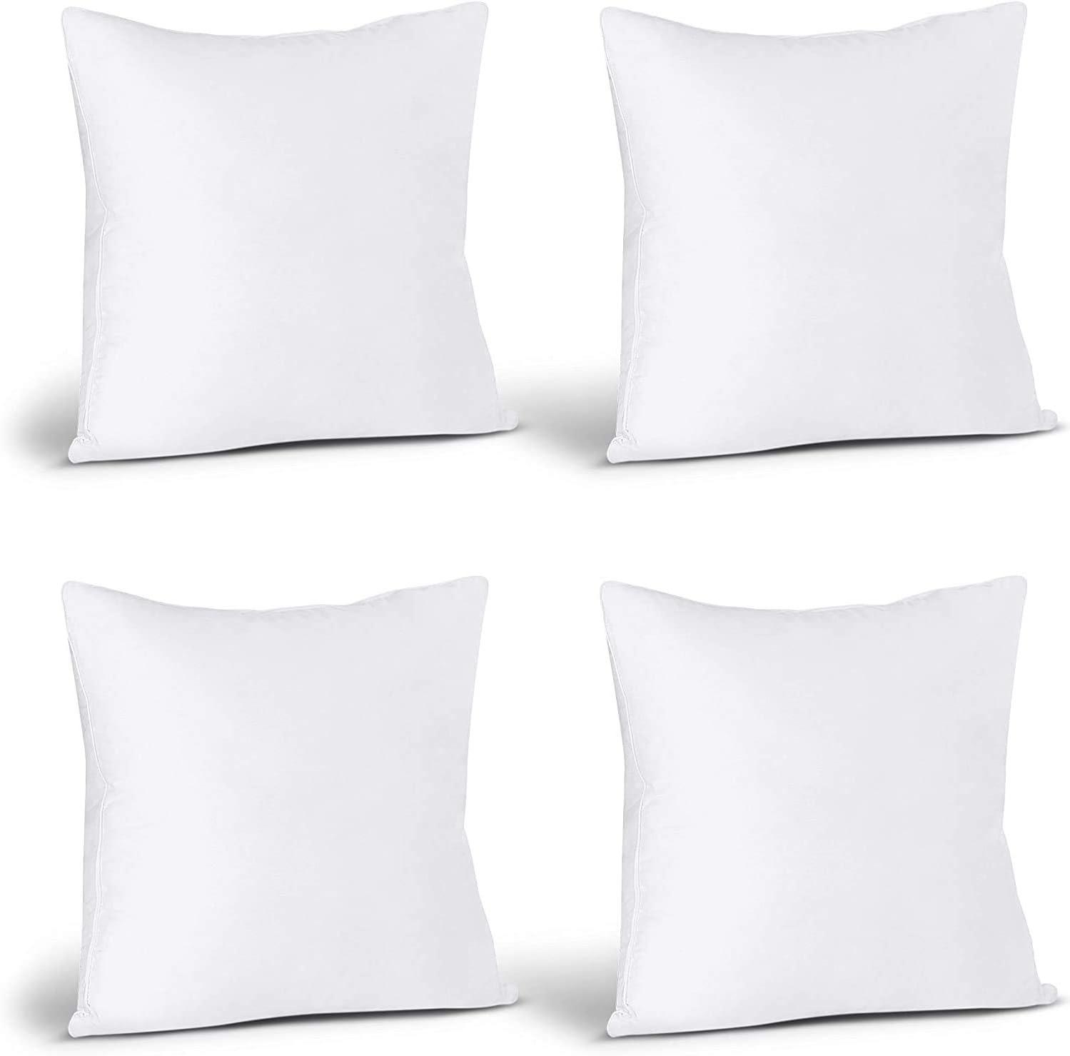 Utopia Bedding Relleno de Cojín 40 x 40 cm (4 Unidades) - Funda de Mezcla de Algodón - Fibra Virgen Siliconada - Almohadas de Sofá (Blanco)
