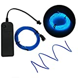 Geekercity 5m 15ft Neon Light EL Wire with Battery Pack Neon Glowing Strobing Neon Electroluminescent Rope Tube Waterproof LED Strip for Car, Dance Parties, Halloween DIY Decoration (Blue)