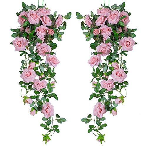PARTY JOY 6.5Ft Artificial Rose Vine Silk Flower Garland Hanging Baskets Plants Home Outdoor Wedding Arch Garden Wall Decor,Pack of 2 (Dark Pink)
