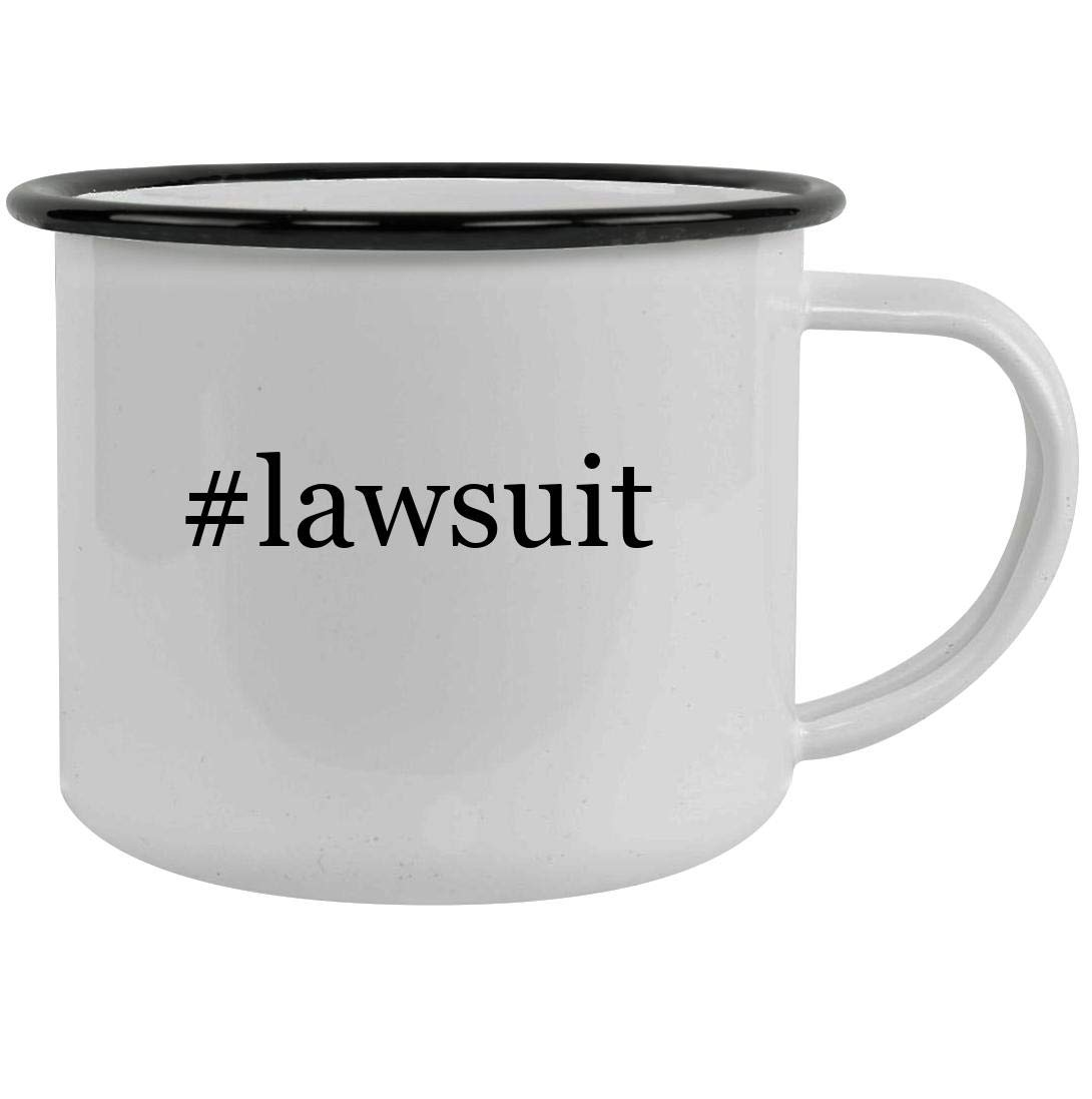 #lawsuit - 12oz Hashtag Stainless Steel Camping Mug, Black