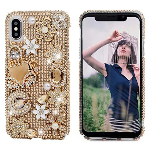 iPhone X Case, iPhone Xs Case, Maviss Diary Full Edge Protective Plastic Case, 3D Handmade Crystal Clear Bling Diamonds Shiny Rhinestone Gold Floral Handbag Jewellery Hard PC Cover for iPhone X/XS