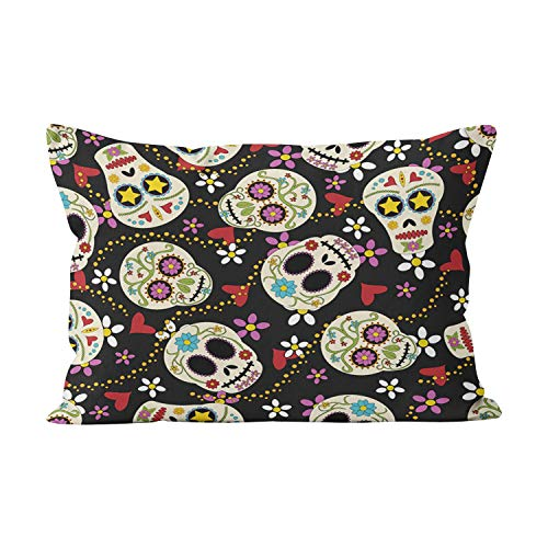 Sokiiy Hearts and Flowers Sugar Skulls Cute Hidden Zipper Home Decorative Rectangle Throw Pillow Cover Cushion Case Standard 20x26 Inch One Side Design Printed Pillowcase -
