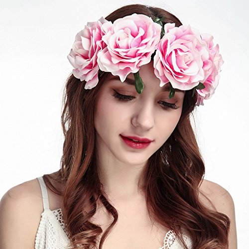 novia Oscuro Diadema Corona Vacaciones Acmede Rojo Rosa Cabello Boda Rosas Playa para la Floral Flores OwwzZq