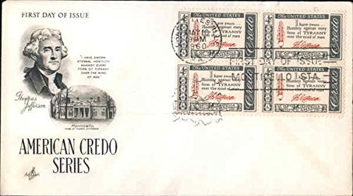 (American Credo Series - Thomas Jefferson - Monticello, Home of Thomas Jefferson Block of Stamps Original First Day Cover )