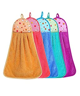 ALOUD CREATIONS Hanging Soft Microfiber Hand Towel for Wash Basin and Kitchen - Pack of 4