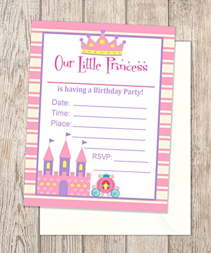 Princess Party Fill Blank In Invitations Flat Cards Set Of 20 Pink Castle Birthday With Envelopes Card