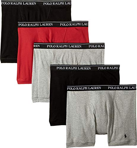 Polo Ralph Lauren Men's 5-Pack Boxer Briefs Andover Heather X-Large (Polo Boxers Lauren Ralph)