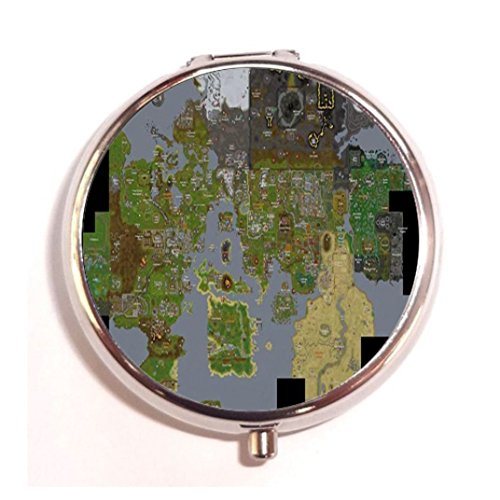 Runescape Map design custom Unique Tone Round Pill Box Medicine Tablet Organizer or Coin Purse