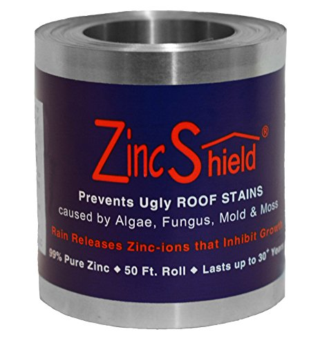 Home Depot Slate Tile (Set of 2 - ZincShield Pure Zinc Strips & No Nail Adhesive Installation Kit to Avoid Ugly Roof Stains from Moss, Algae, Fungus, and Mildew (3.5