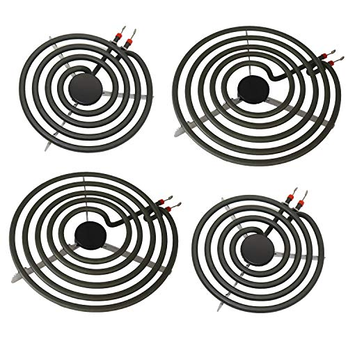 "S-Union 4 Pack MP22YA Electric Range Burner Element Unit Set - 2 pcs MP15YA 6"" and 2 pcs MP21YA 8"" for Hardwick & Jenn Air & Kenmore & Maytag & Norge & Whirlpool Electric Range Stove"