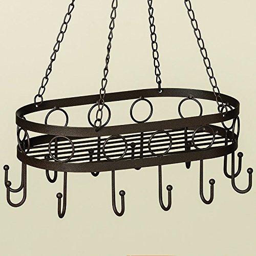 34x22cm Kräuterhänger Topfhänger Wurstkrone Eisen antikbraun Holz Hängekorb *Landhaus Stil* Shabby Chic Landhaus Vintage Nostalgie Küchendeko Küche Utensilo Etagere Dekoration Holz
