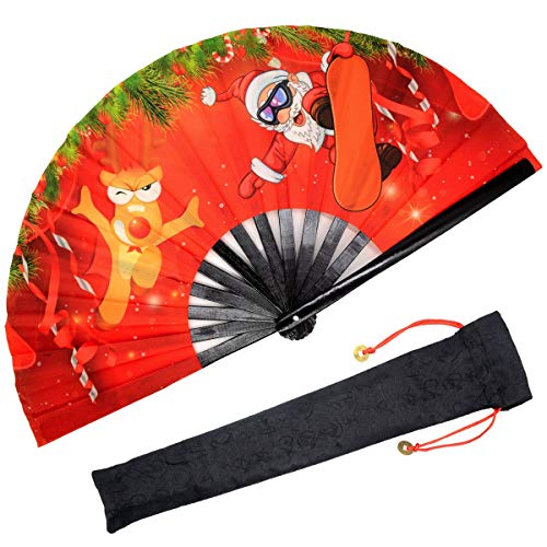 OMyTea Christmas Large Folding Hand Fan for Men/Women - Chinese Japanese Kung Fu Tai Chi Handheld Fan with Fabric Case - for Performance, Decorations, Dancing, Festival, Gift (Santa Claus & Elk) -