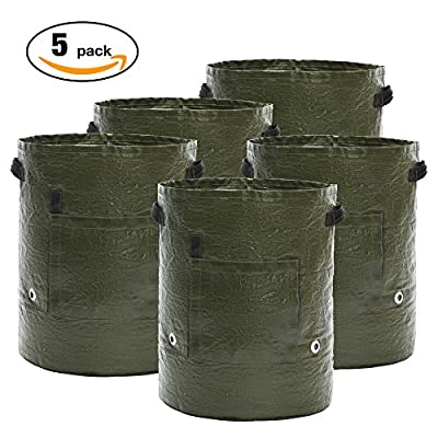 [5 Pack 10 Gallon] Grow Bags Grow Bags Potato Garden Planter Bag for Potato, Carrot, Onion & Vegetables