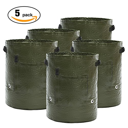 [5 Pack 10 Gallon] Grow Bags Grow Bags Potato Garden Planter Bag for Potato, Carrot, Onion & Vegetables by 365Garden