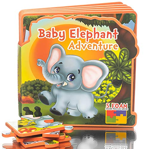 First Puzzles for Toddlers Baby Elephant Adventure Toy Book, Learning activity books for toddlers, Educational toys for 1 year olds, 2 year olds, 3 year olds, Jungle Animals Puzzle Toys ()