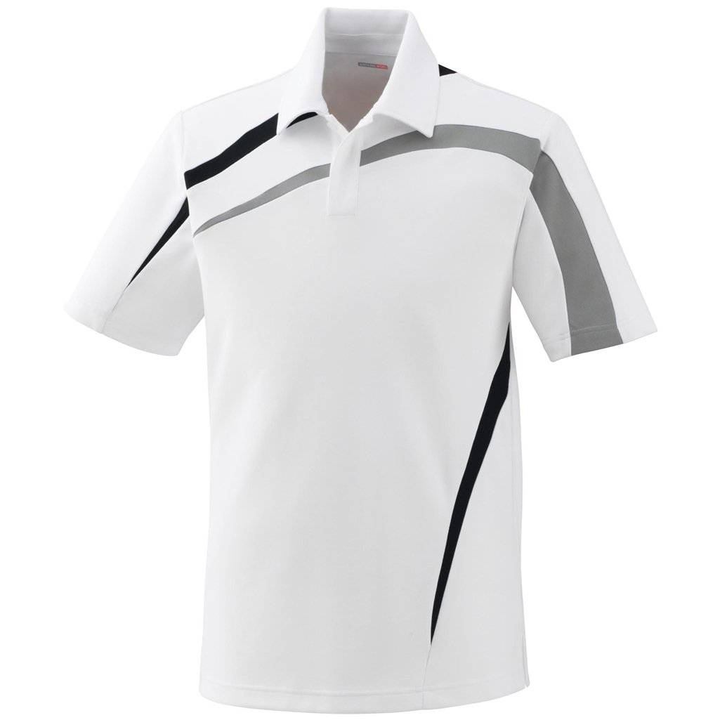 Ash City Mens Impact Pique Color Block Polo (Large, White/Grey Luster/Black) by Ash City Apparel