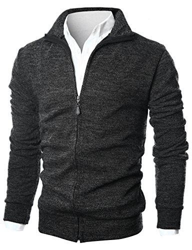 GIVON Mens Slim Fit Light Weight Full Zip Up Cardigan With Inside Soft (Mens Zip Front Cardigan)