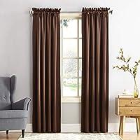 Sun Zero Barrow Panel de cortina de bolsillo para barra de eficiencia energética, Marrón (Chocolate), 1.37 m x 2.41 m
