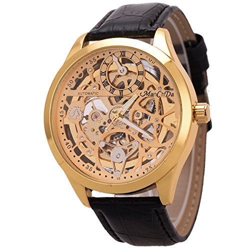 ManChDa Wrist Watch Skeleton Mechanical Mens Watch 47MM XL Automatic Analog Black Leather by ManChDa