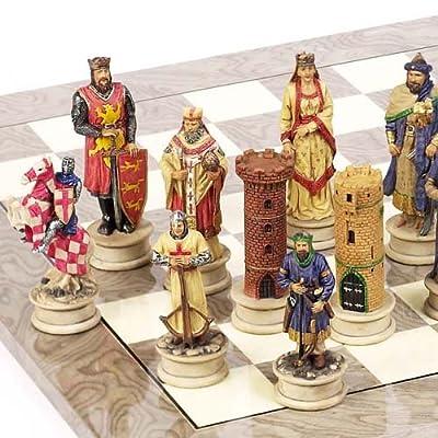 "Hand Painted Crusade Chessmen- Large, King: 4 1/2"""