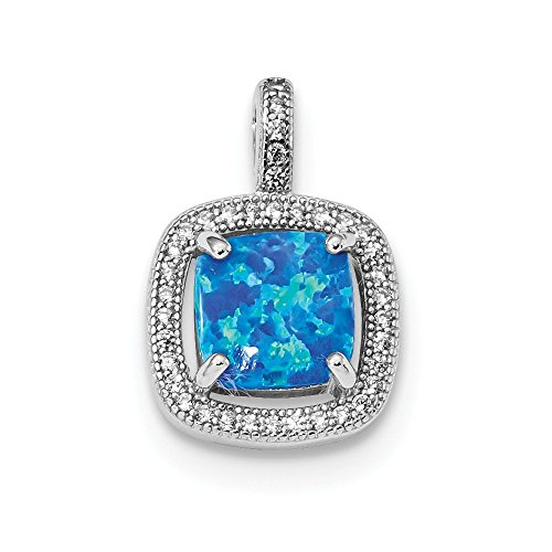 925 Sterling Silver Blue Square Created Opal Cubic Zirconia Cz Pendant Charm Necklace Fine Jewelry Gifts For Women For Her (Opal Square Charm)