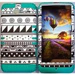 Cellphone Trendz (TM) Hybrid High Impact Bumper Case Black & White Aztec Tribal / Teal Silicone for Motorola DROID RAZR M (XT907, 4G LTE, Verizon)