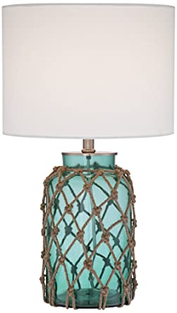Crosby Blue Green Bottle With Rope Glass Table Lamp Amazon Com
