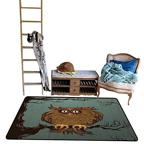 Owl, Girls Bedroom Rug, Exhausted Hangover Tired Owl in Oak Tree with Eyebrows Nature Cartoon Funny Artwork, Floor Mat for Kids, W48 x L60 Inch, Blue - Impala Eyebrow