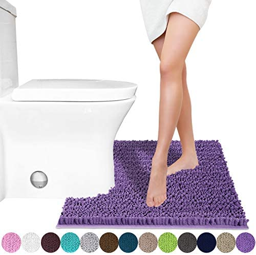 24.4 X 20.4 Inches Soft and Comfortable Dry Quickly Gray Machine-Washable Non-Slip Maximum Absorbent Yimobra Luxury Shaggy Toilet Bath Mat U-Shaped Contour Rugs for Bathroom