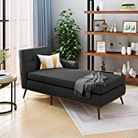 Sophia Mid Century Modern Muted Dark Grey Fabric Chaise Lounge