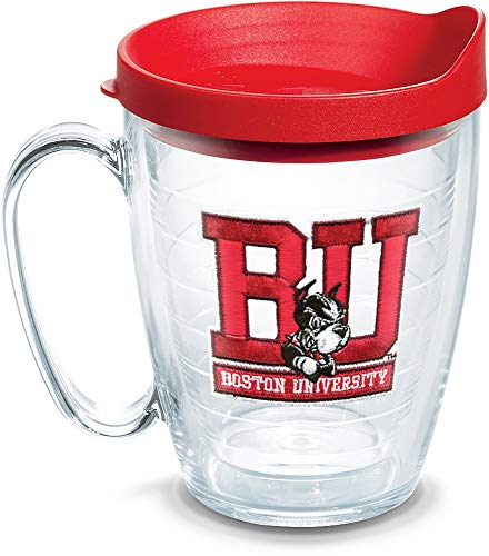 Tervis 1060804 Boston University Terriers Logo Tumbler with Emblem and Red Lid 16oz Mug, Clear