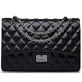 Ainifeel Women's Quilted Oversize Genuine Leather Shoulder Handbag Hobo Bag Purse (X-Large, Black with gunmetal hardware)