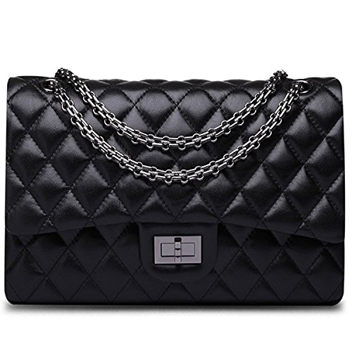 Ainifeel Women's Quilted Oversize Genuine Leather Shoulder Handbag Hobo Bag Purse (X-Large, Black with gunmetal hardware) by Ainifeel Quilted&Chain Strap Collection