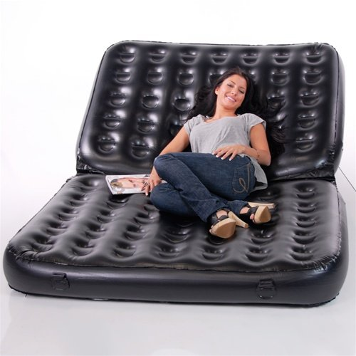 Inflatable Sleeper Sofa Bed: Smart Air Beds Full Sized 5 X 1 Inflatable Sofa Bed, Black