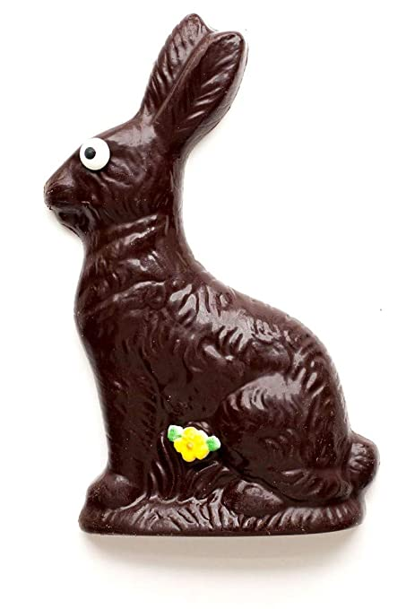 Solid Dark Chocolate Easter Bunny Rabbit, Half Pound, Small Batch, Hand-Made in USA