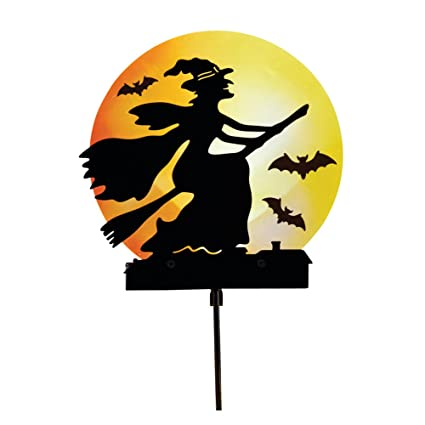 collections etc solar lighted flying witch with bats garden stake halloween outdoor dcor