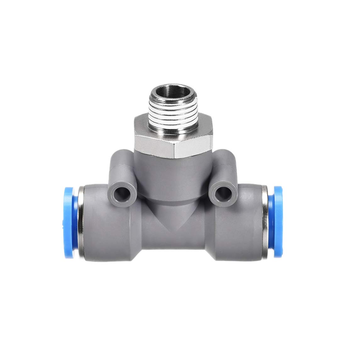 uxcell Push to Connect Air Fittings T Type Thread Tee Tube Connect 12mm OD x PT1//4 Male Thread Grey