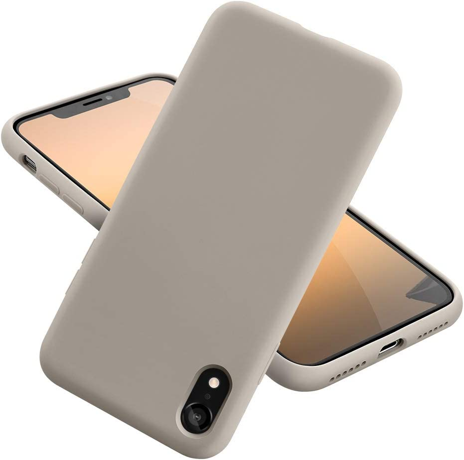 MCUCA iPhone XR Case,Ultra-Thin Shockproof Silky-Soft Touch Microfiber Lining Premium Soft Silicone Rubber Full Body Protection Case Cover for Apple iPhone XR (Stone)